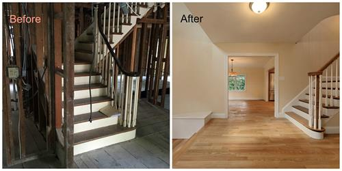 Before and after of foyer renovation