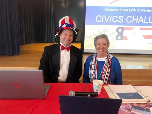 Brooke Lipsitt and Josh Krintzman, emcees of our 2020 Civics Challenge