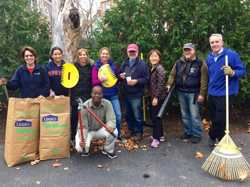 Service projects (such as raking leaves at a domestic violence shelter) are the heart of Rotary.