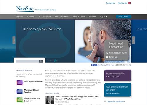 Traktek was re-engaged by Navisite, after their purchase by Time Warner Cable, to redesign their website to match the new branding requirements, add interactive functionality, and create a responsive design.