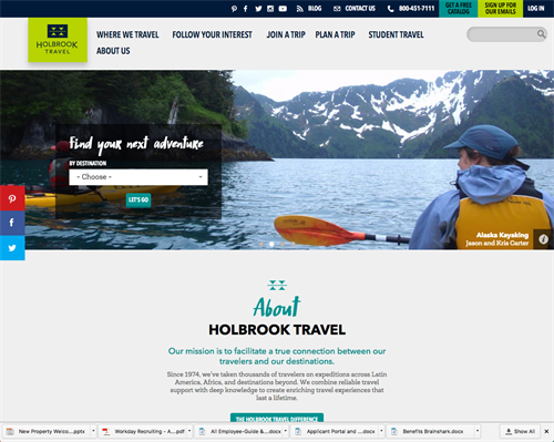 "Holbrook Travel, an educational tour operator, tasked Traktek with building a responsive and intuitive website and design a new ""My Account"" portal for group leaders and participants to improve guest satisfaction and provide important information on flights, invoices, and itineraries before departure."