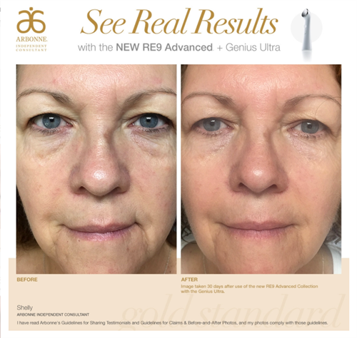 RE9 Anti Aging Set Results after every day use for 30 days, before bed time.