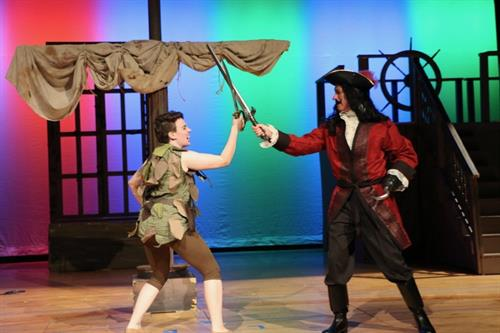 "Maeve McCluskey as Peter Pan and Michael Bailit as Captain Hook in ""Peter Pan"", Spring 2017"