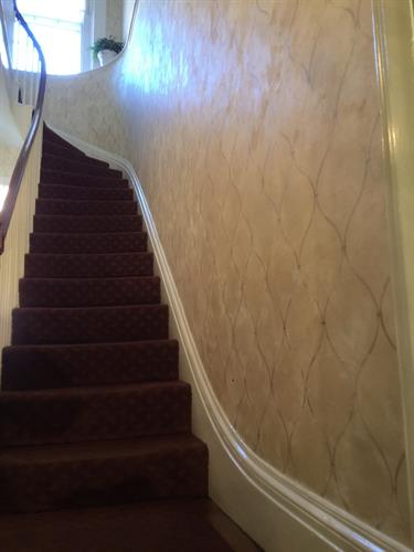 Plaster finish with stencil pattern