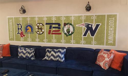 Boston Sports Mural for Family Room