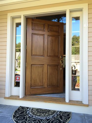 Woodgrained front door