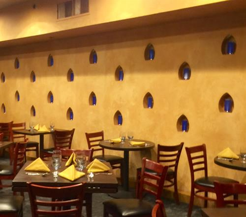 Glazed walls at Marsala Art Indian Restaurant, Needham, MA
