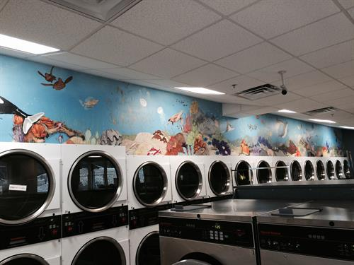 45' long sealife mural for Dependable Cleaners, Quincy, MA