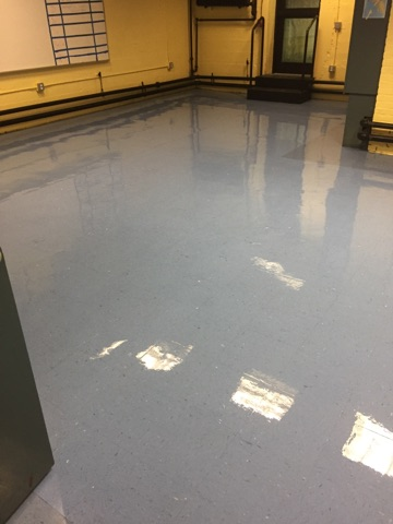 newly waxed VCT floor