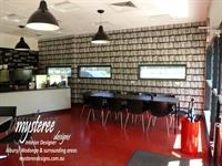 3 Degrees Cafe. A wall of books wallpaper to bring the place to life.