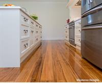 A stunning French Provincial styled kitchen with solid timber floorboards. The house on the hill with all the frills!