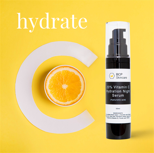 Fine lines are mostly dehydration lines. Our 20%Vitamin C Hydration Night Serum has been formulated with Hyaluronic acid, which holds 1,000 times it weight in water, hydrating the deepest skin cells.
