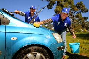 Spongies is a car washing program that the participants enjoy doing.