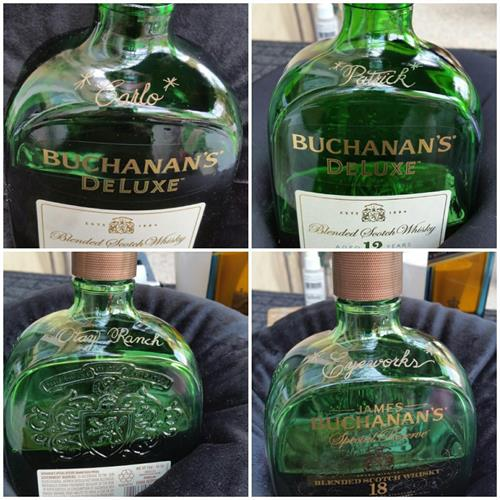 Buchana's Deluxe bottles hand engraved for a Restaurant who likes to personalize their customers bottles.