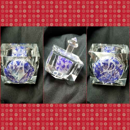 "This Crystal Dreidel was especially hand engraved for a dear friend. His initials are stippled at the bottom. ""B"" ""A""  Bruce Abrams."