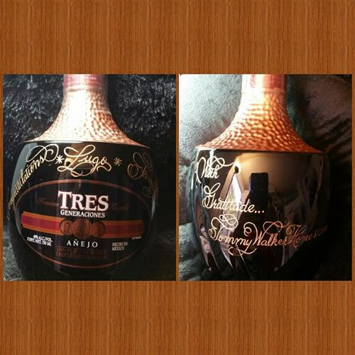 This Tequila bottle was personalized for a client from a Real Estate Company, congratulating the family on their new home.