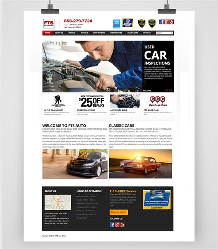 FTS Auto, Web Design Web Development for Auto Repair Shop in Kearney Mesa