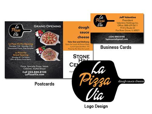 La Pizza Via Logo, Card and Menu
