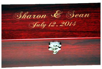Laser Engraving with gold fill on rosewood box