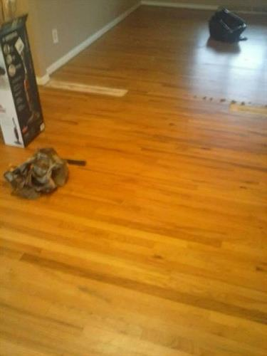 Hardwood floor repair & refinishing- Before