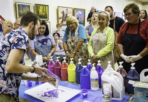 Adult students at a Pour Painting Class. Photo courtesy of John Waclo, Westmoreland Photographers Society