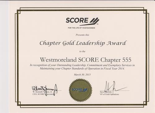 SCORE Westmoreland County Chapter 555 Award