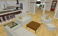 3700 s.f. Custom Home Kitchen -living interior rendering
