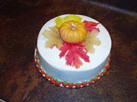 Italian Cream Cake decorated for fall