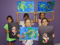 After-school art class shows off their work.