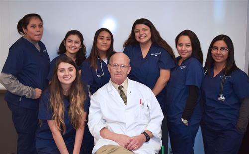 Medical Administrative students take a break with Mr. Daniel Odum, their instructor.