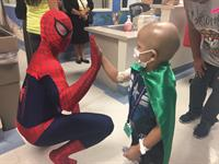 Spiderman encouraging Matt after his chemo treatment!