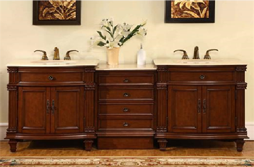Split level bathroom vanity