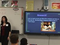 Stephanie Walsh presenting at Bob Jones High School.