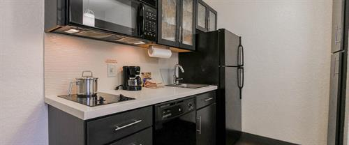 All suites feature a fully equipped kitchen with pots, pans, dishes and everything you need!