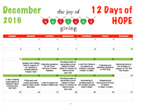 12 Days of H.O.P.E. Event Calendar - 2016