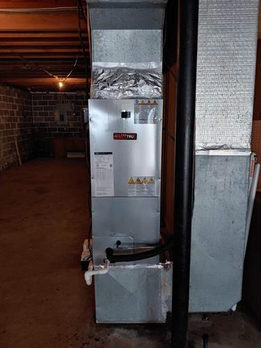 Trane Runtru retrofit installation; furnace, electric heat and condensate pump system