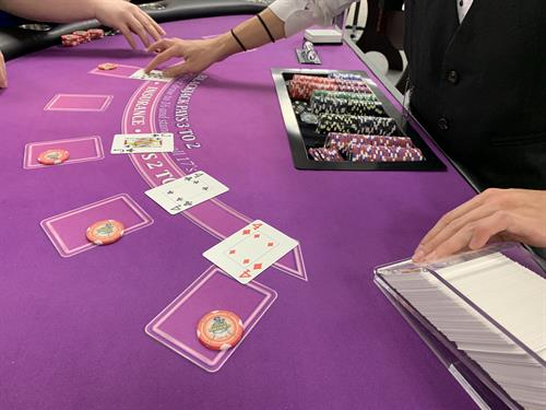 You can have our Blackjack tables in any color at your event... as long as you pick purple!