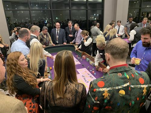 Our 12 foot craps table ALWAYS gets a crowd and is the heartbeat of every party!