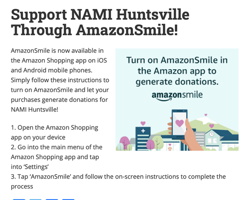 Add NAMI Huntsville as your Amazon Smile Charity!