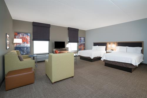 Two Queen Bed Suite - very spacious guestroom, twice the space of standard room, similar to a studio apartment.