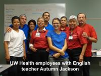 Staff at UW Hospital enjoy their class with Autumn Jackson