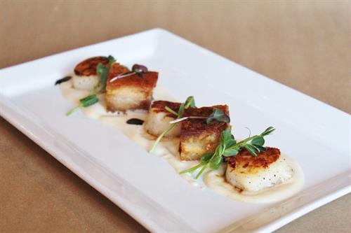 Seared Scallops and Pork Belly – Cauliflower-Parmesan Cream, Balsamic Glaze