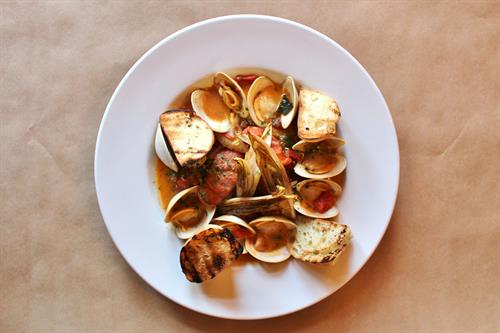 Barley Neck Clam Stew – Local Littlenecks, Garlic, Sausage, Endive, Tomato and White Wine Broth, Crusty Bread