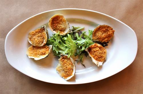 Roasted Oysters Romesco – Red Pepper, Tomato, Garlic, Almond Parmesan Panko