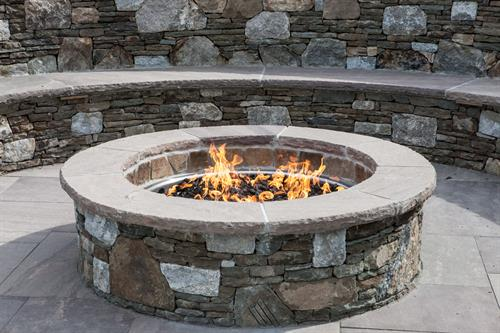 Gas Fire Pit with Bench