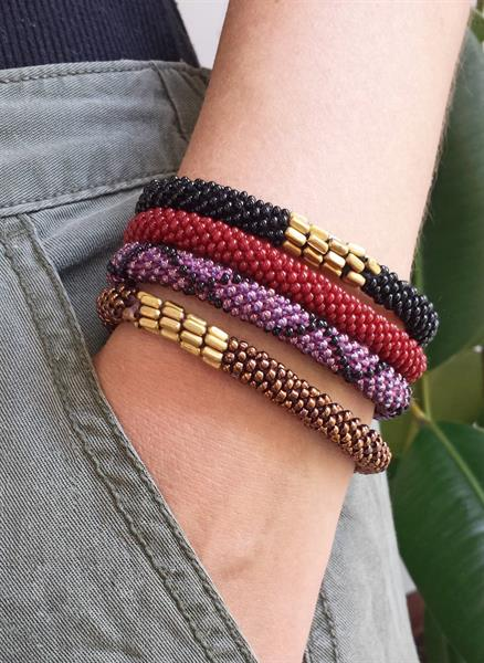 Colorful beaded roll-on bracelets.
