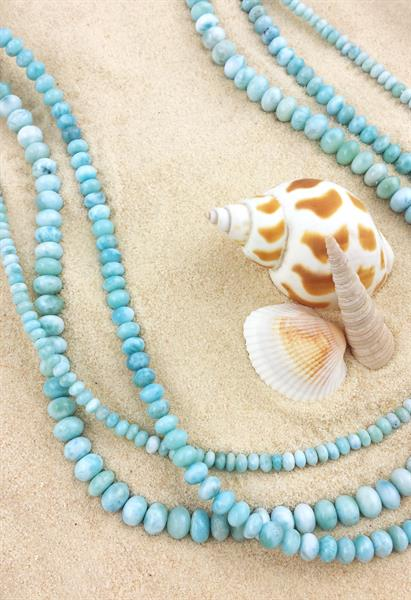 Strands of rare Caribbean larimar.