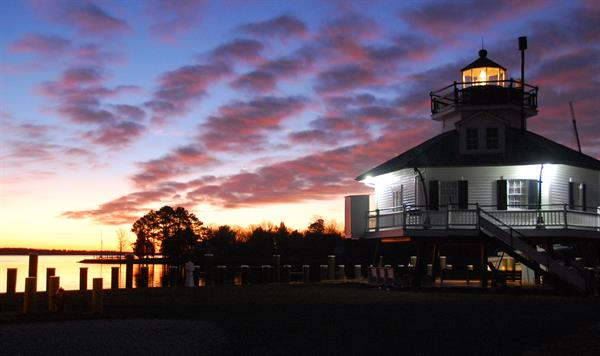 Sunrise over the Miles River and the 1879 Hooper Strait Lighthouse at the Chesapeake Bay Maritime Museum