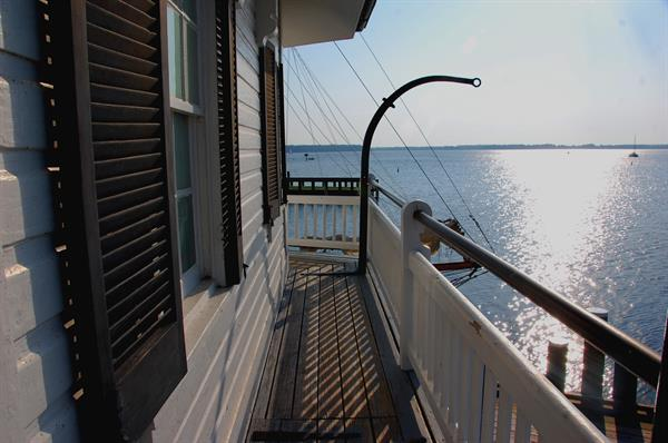 A Miles River view from the first deck of the 1879 Hooper Strait Lighthouse. You can climb all the way to the top for the most spectacular views of the Miles River and St. Michaels