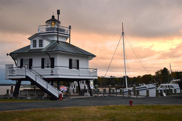 The 1879 Hooper Strait Lighthouse at sunrise